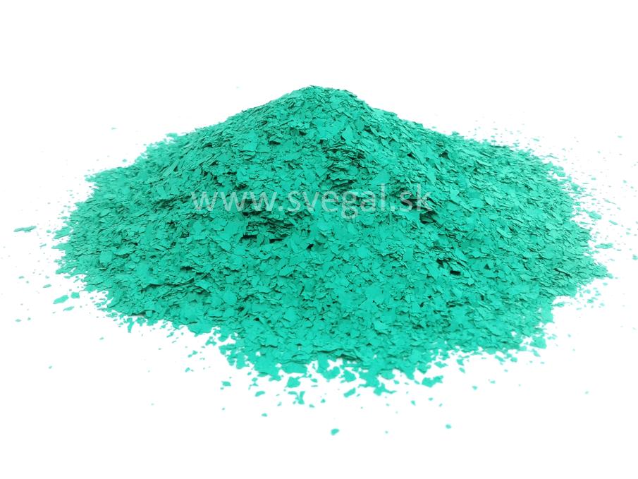 Akrylové čipsy zelená, jemnejšia zrnitosť. Čipsy vhodné na posyp epoxidových stierok a podlahových náterov pre zlepšenie optických vlastností a zvýšenie protišmykovosti.
