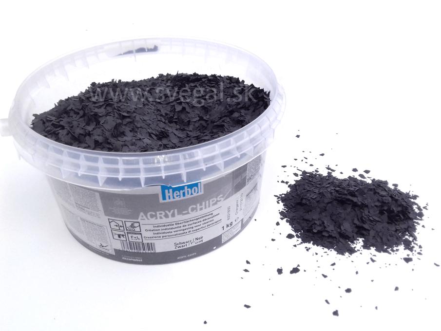 Herbol ACRYL-CHIPS čierna, čipsy vhodné na posyp liatych podláh pre zlepšenie optických vlastností.