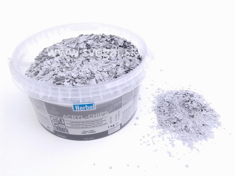 Herbol ACRYL-CHIPS šedá, čipsy vhodné na posyp liatych podláh pre zlepšenie optických vlastností.