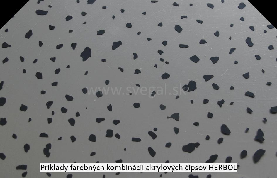 Acryl Chips Herbol čierna farba na šedom podklade. Zvýšenie estetiky a protišmykovosti.