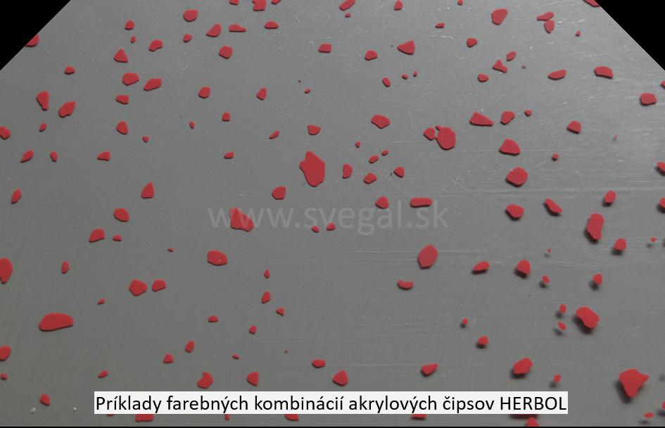 Akrylové čipsy Herbol v červenom farebnom odtieni na šedom podklade. Zvýšenie estetiky a protišmykovosti.