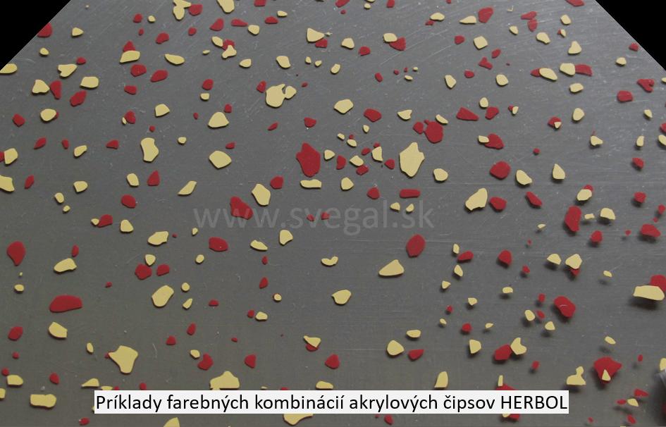 Akrylové čipsy Herbol v červenom a žltom farebnom odtieni na šedom podklade. Zvýšenie estetiky a protišmykovosti a optické scelenie podlahy.