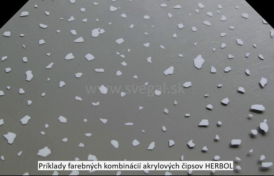 Čipsy akrylátové šedý odtieň na šedom podklade, príklad zo vzorkovníka.