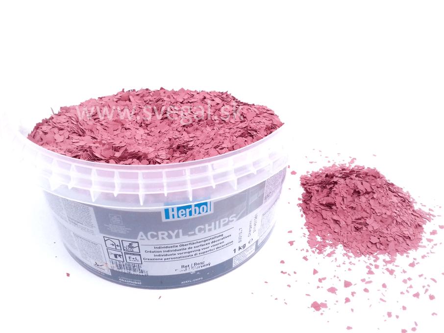 Herbol ACRYL-CHIPS červená - tehlová, čipsy vhodné na posyp liatych podláh, podlahových náterov pre zlepšenie optických vlastností a zvýšenie protišmykovosti.