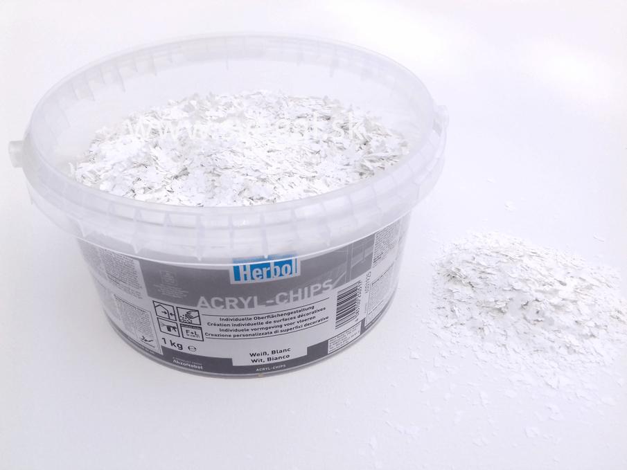 Herbol akrylové čipsy biela, vhodné na posyp liatych podláh, podlahových náterov pre zlepšenie optických vlastností a zvýšenie protišmykovosti.