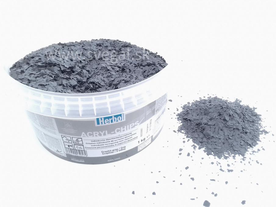 Herbol ACRYL-CHIPS grafit, čipsy vhodné na posyp liatych podláh, podlahových náterov pre zlepšenie optických vlastností a zvýšenie protišmykovosti.