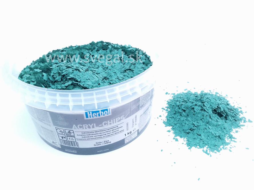 Herbol ACRYL-CHIPS zelená, čipsy vhodné na posyp liatych podláh, podlahových náterov pre zlepšenie optických vlastností a zvýšenie protišmykovosti.