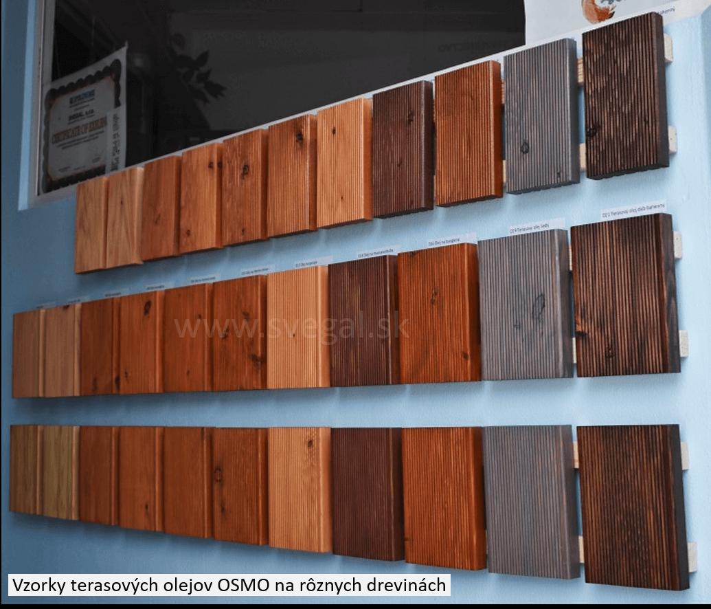 OSMO vzorky terasových olejov na rôznych drevinách v showroome firmy SVEGAL, Bratislava ul. Magnetová 10M