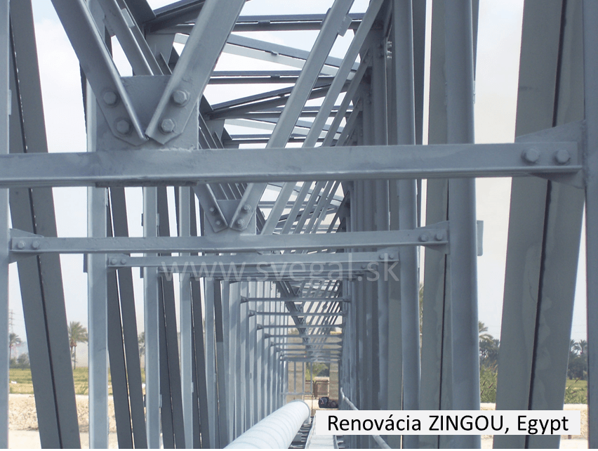 Renovačný náter ZINGA na oceľovej konštrukcii. Systém galvanizácie za studena. Zinganizácia