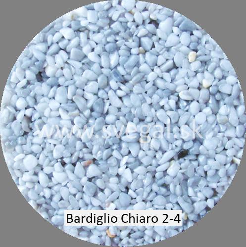 Mramorové kamenivo Bardiglio Chiaro veľkosti 2 až 4 mm, pre použitie v štrkových kobercoch.