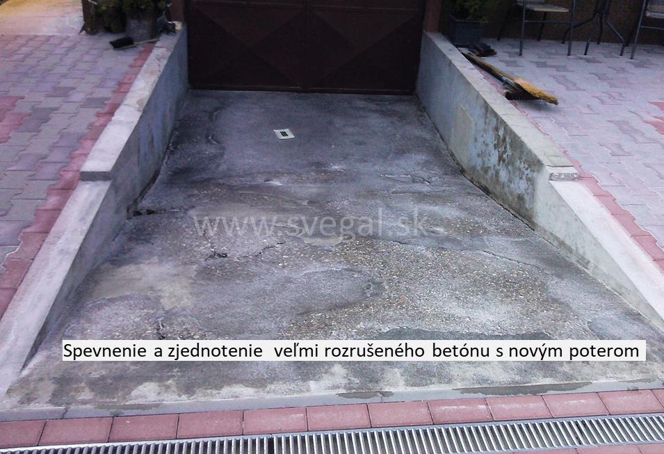 Epoxidová rozpúšťadlová penetrácia SVG RESIN 25, spevnenie a zjednotenie rozrušeného betónu s novým betónovým poterom.