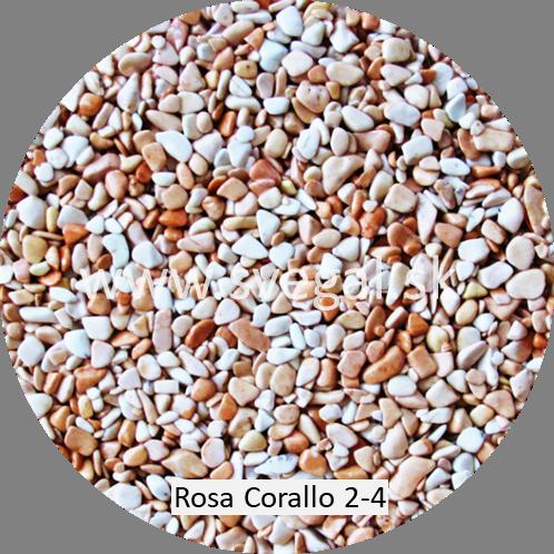 Mramorové kamenivo Rosa Corallo frakcie 2 - 4 mm pre kamenné koberce.