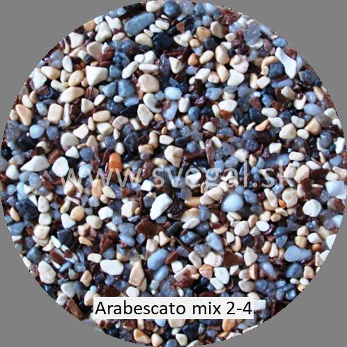 Mramorové kamenivo Arabescato mix veľkosti 2/4 mm, pre kamenné, kameninové, oblázkové, štrkové a mramorové koberce.