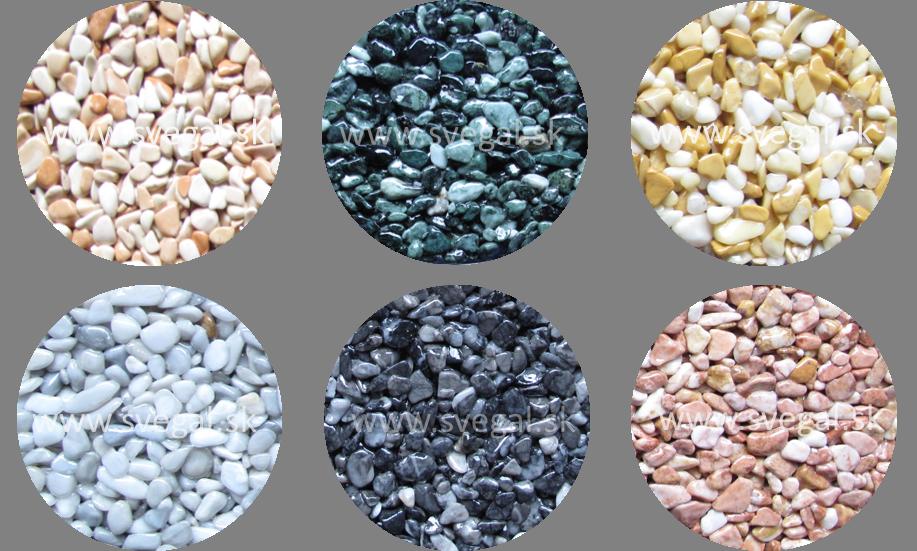Mramorové kamenivo frakcie 4/7 mm vzorkovník odtieňov.