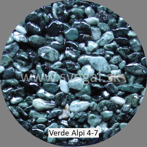 Mramorové kamenivo Verde Alpi 4/7, pre kameninové koberce.