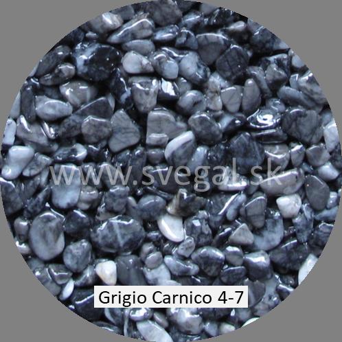 Mramorové kamenivo Grigio Carnico 4/7, pre kamenné koberce.