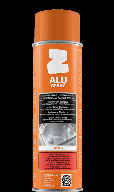 Alu spray Zinga, lesklý kovový vzhľad.