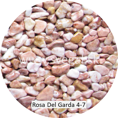 Mramorové kamenivo Rosa Del Garda frakcia 4/7, pre kamenné koberce.
