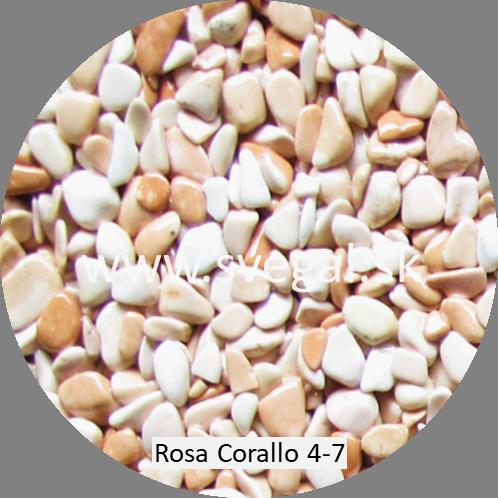 Mramorové kamenivo Rosa Corallo 4/7, pre kamenné koberce.