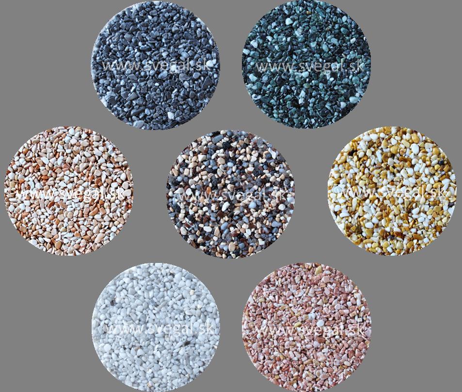 Vzorky mramorového kameniva frakcie 2/4 vhodné pre použitie v kamenných kobercoch.
