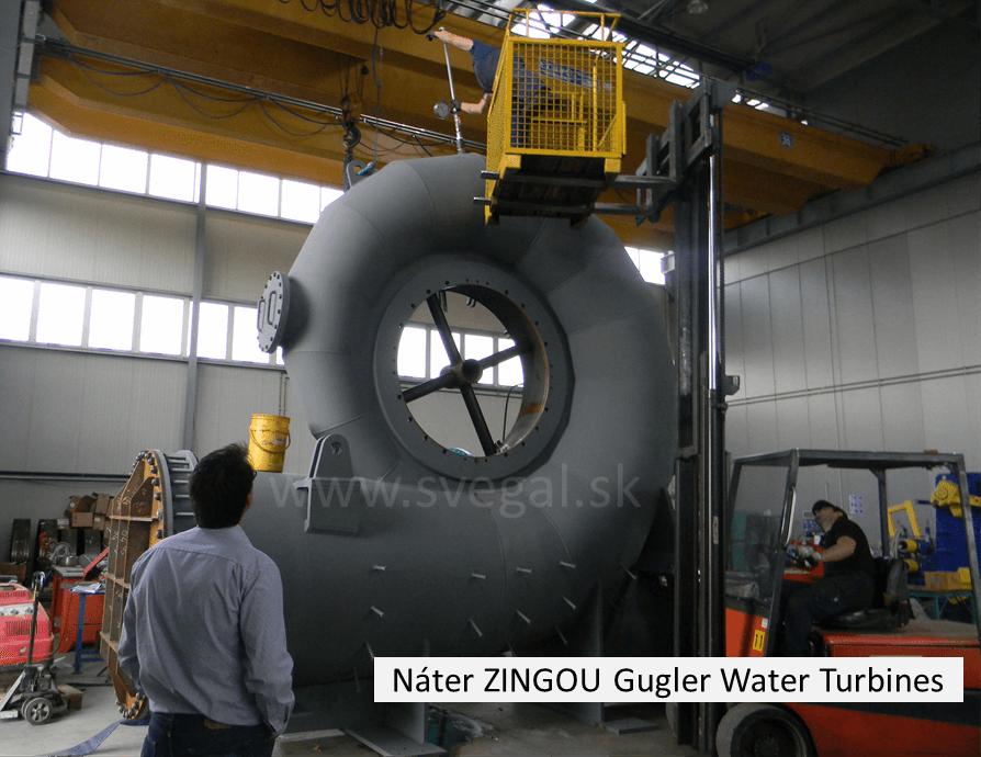 Náter vodnej turbíny antikoróznou hmotou ZINGA, galvanizácia za studena, studený zinok.