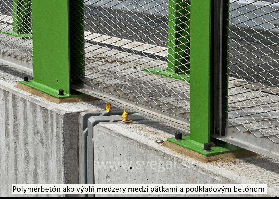 Použitie polymérbetónu na výplň medzier medzi pätkami a podkladovým betónom. Použitá epoxidová živica CHS-EPOXY 455.