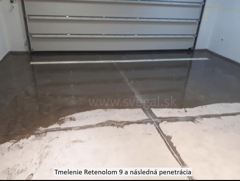 Tmelenie pracovných dilatácií epoxidovým tmelom RETENOL 9. Celoplošná penetrácia betónového povrchu s pomocou CHS-EPOXY 474.