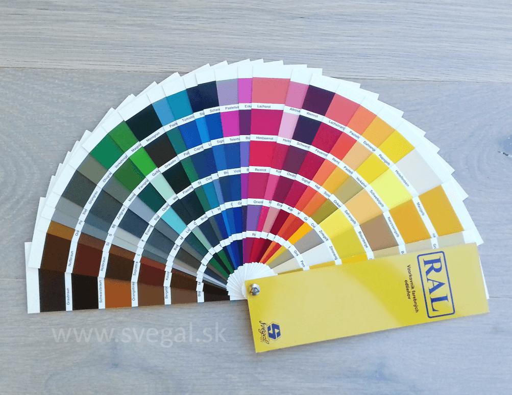 Vzorkovník RAL ukážka odtieňov - pomôcke pri pigmentovaní podlahových stierok