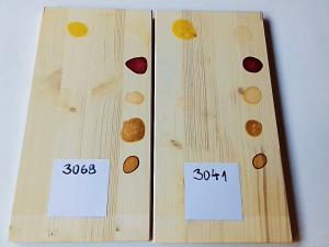 test OSMO olejov na pracovných doskách, tekutiny po vyschnutí.
